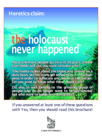 Brochure.Heretics claim - the holocaust never happened
