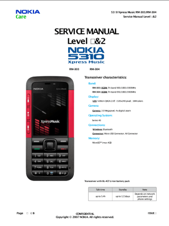 Nokia 5310 XpressMusic Service Manual L1&L2 v2.0