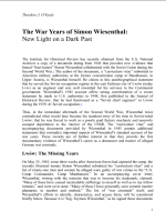 The War Years of Simon Wiesenthal: New Light on a Dark Past