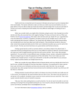 Tips on Finding a Dentist