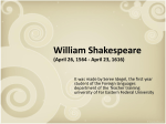 William Shakespeare (April 26, 1564 -