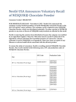 Nestlé USA Announces Voluntary Recall of NESQUIK® Chocolate