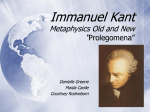 "Immanuel Kant Metaphysics Old and New ""Prolegomena"""