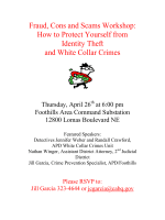 Fraud, Cons and Scams Workshop: How to Protect Yourself from