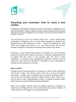 Exporting your business: How to crack a new market - (IE) Singapore