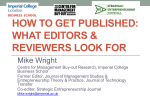 How to Get Published: What are Editors [and Reviewers - Innovate