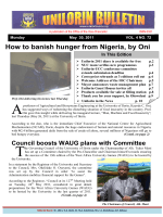 How to banish hunger from Nigeria, by Oni - University of Ilorin