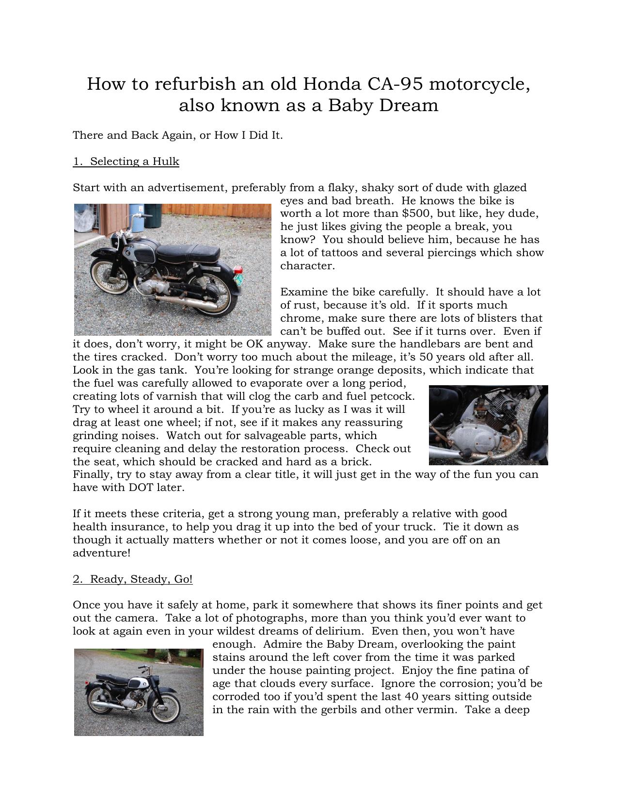 How To Refurbish An Old Honda Ca 95 Motorcycle Also Known As A Ca95 Wiring