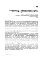 Biodiversity in a Rapidly Changing World: How to Manage - InTech