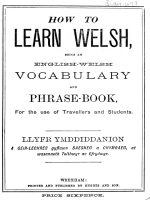 How to learn Welsh, being an English-Welsh vocabulary  phrase