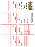 extra curricular activity planner booklet