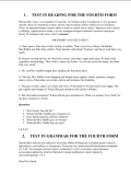 test in reading for the fourth form