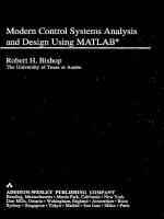 Modern Control Systems Analysis and Design Using Matlab. Robert H. Bishop