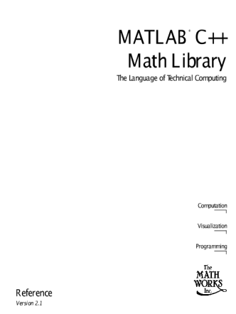 Matlab C Math Library Reference v2.1
