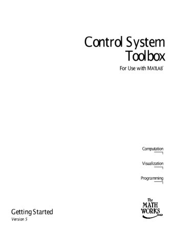 Getting Started with MATLAB Control System Toolbox