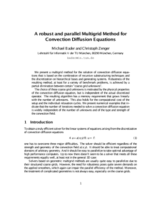 Bader M., Zenger C. A Robust and Parallel Multigrid Method for Convection Diffusion Equations