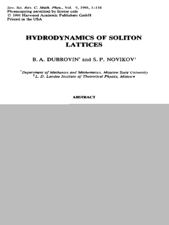 Dubrovin B.A, Novikov S.P. Hydrodynamics Of Soliton Lattices (Sov.Sci. Review, 1993)