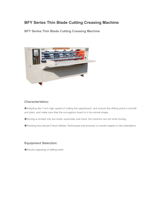 BFY Series Thin Blade Cutting Creasing Machine