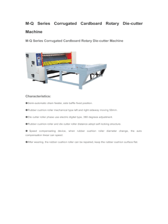 M-Q Series Corrugated Cardboard Rotary Die-cutter Machine