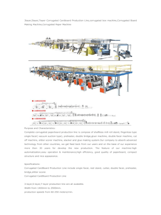 3layer,5layer,7layer Corrugated Cardboard Production Line,corrugated box machine,Corrugated Board Making Machine,Corrugated Paper Machine