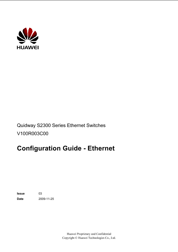 Huawei Quidway S2300 Configuration Guide Ethernet