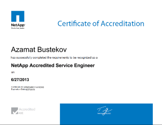 NetApp Accredited Service Engineer certificate