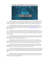 Creative Visualization Leads To Achievement