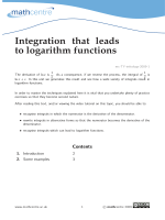 Integration that leads to logarithm functions - Mathcentre