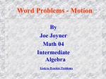 Motion Word Problems