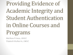 Providing Evidence of Academic Integrity and Student