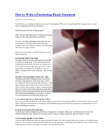 How to Write a Fascinating Thesis Statement