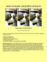 HOW TO MAKE YOUR OWN LIP BALM - Mission Venture Ministries