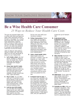 Health Care Costs Series 1st Edition: How to be a Wise Health Care