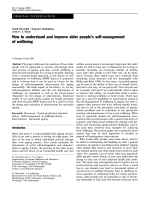 How to understand and improve older peoples self-management of
