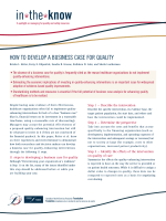 HOW TO DEVELOP A BUSINESS CASE FOR QUALITY