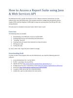How to Access a Report Suite using Java  Web Services API