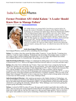 Former President APJ Abdul Kalam: A Leader Should Know How to