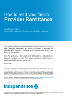 How to read your facility Provider Remittance - Independence Blue