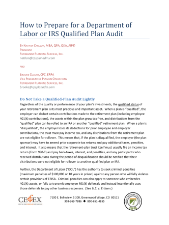 How to Prepare for a Department of Labor or IRS - BiggsKofford
