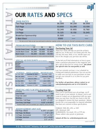 HOW TO USE THIS RATE CARD - Atlanta Jewish Life Magazine