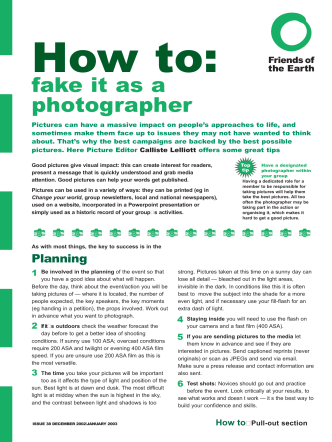 How to : Fake it as a photographer - Friends of the Earth