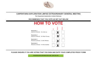 HOW TO VOTE - Carpentaria Exploration Limited