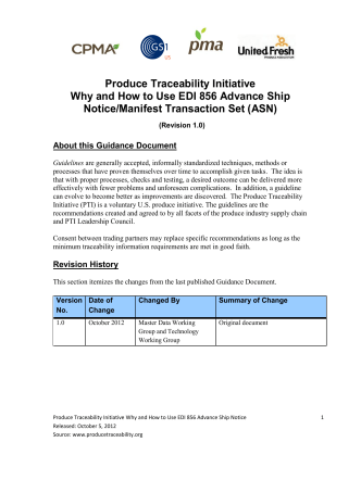 Produce Traceability Initiative Why and How to Use EDI 856