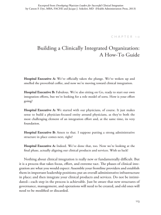 Building a Clinically Integrated Organization: A How-To Guide