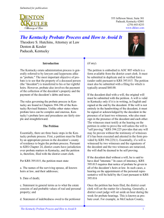 The Kentucky Probate Process and How to Avoid It - Denton  Keuler