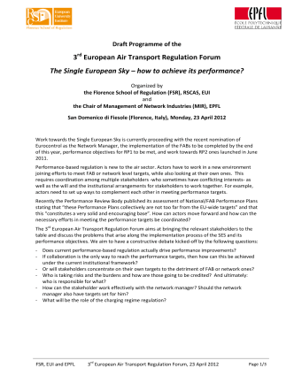 3 European Air Transport Regulation Forum The Single European Sky
