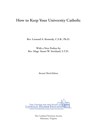 How to Keep Your University Catholic - The Cardinal Newman Society