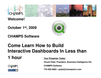 Come Learn How to Build Interactive Dashboards In Less than 1 hour