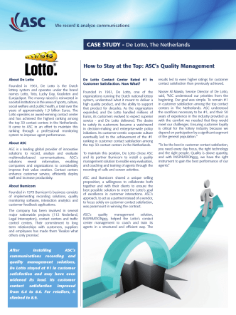 CASE STUDY - De Lotto, The Netherlands How to Stay at the - ASC