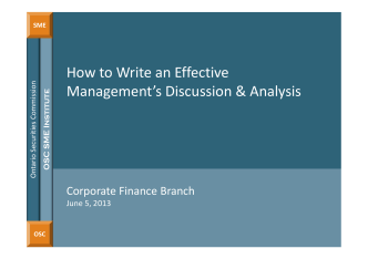 Slides: How to Write and Effective MDA - Ontario Securities